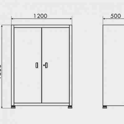 Armário de Aço com prateleira fixa 2 portas medidas ARMPM04